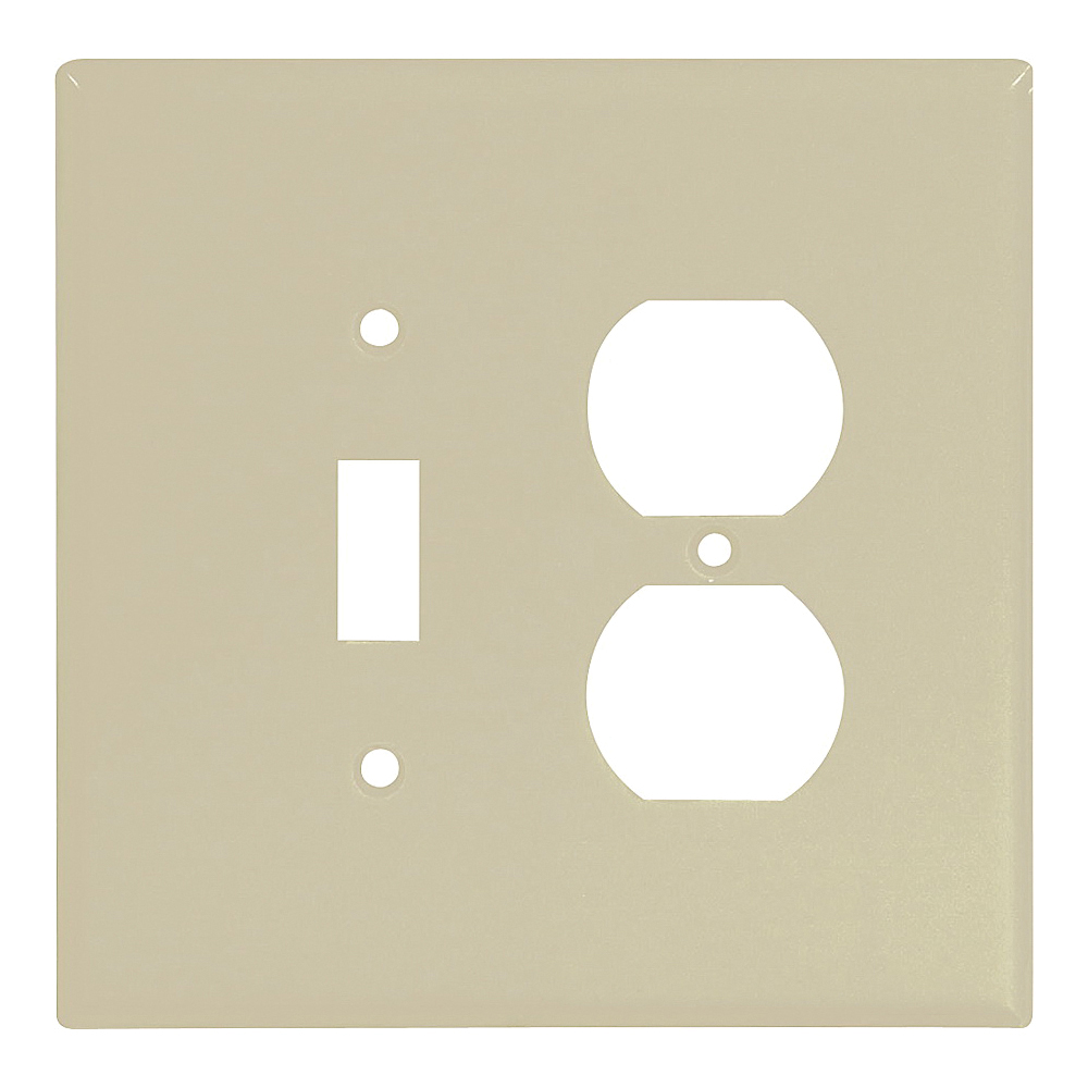 Picture of Eaton Wiring Devices 2148V-BOX Wallplate, 5-1/4 in L, 5-5/16 in W, 2-Gang, Thermoset, Ivory, Flush Mounting