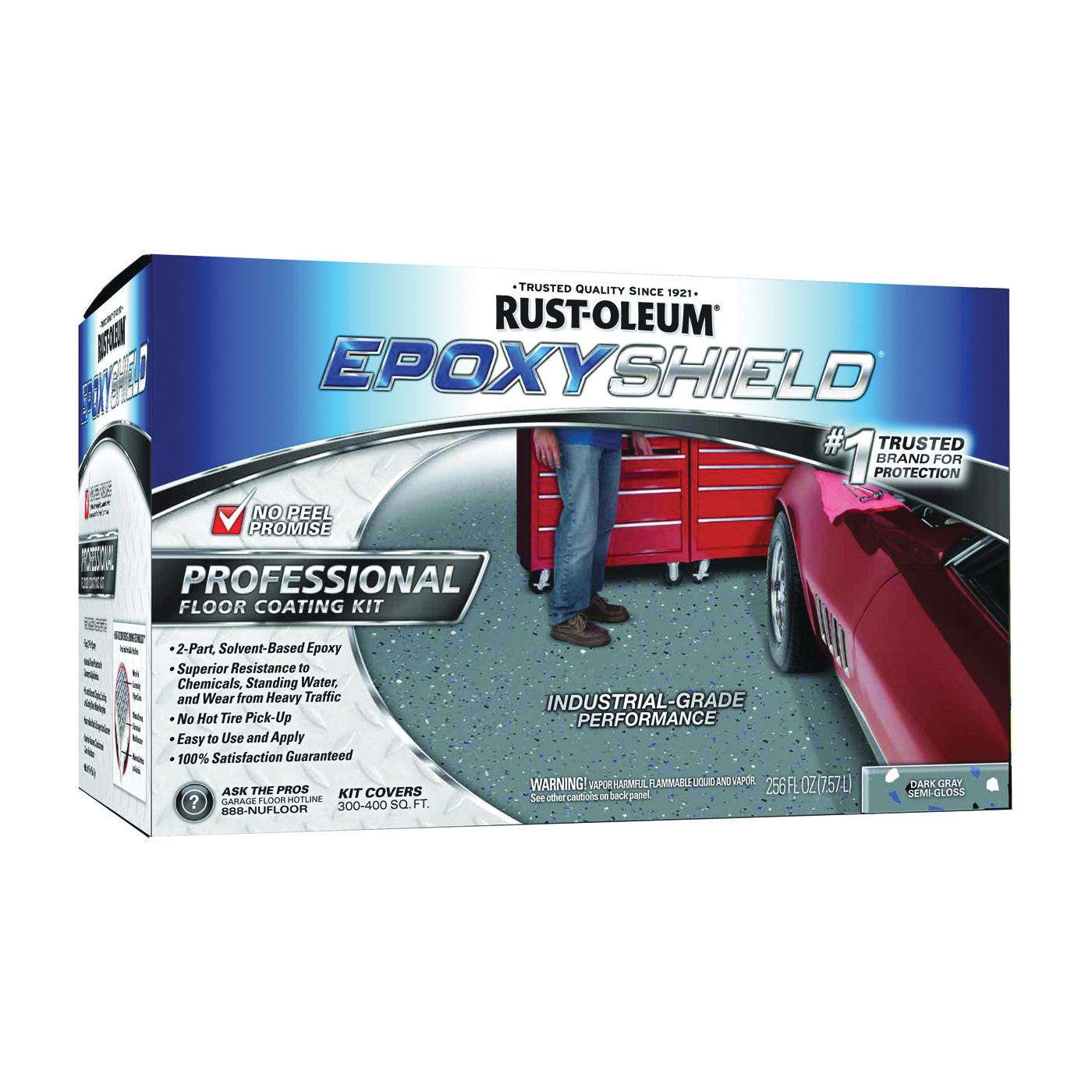 Picture of RUST-OLEUM EPOXYSHIELD 238467 Floor Coating Kit, Semi-Gloss, Dark Gray, Liquid