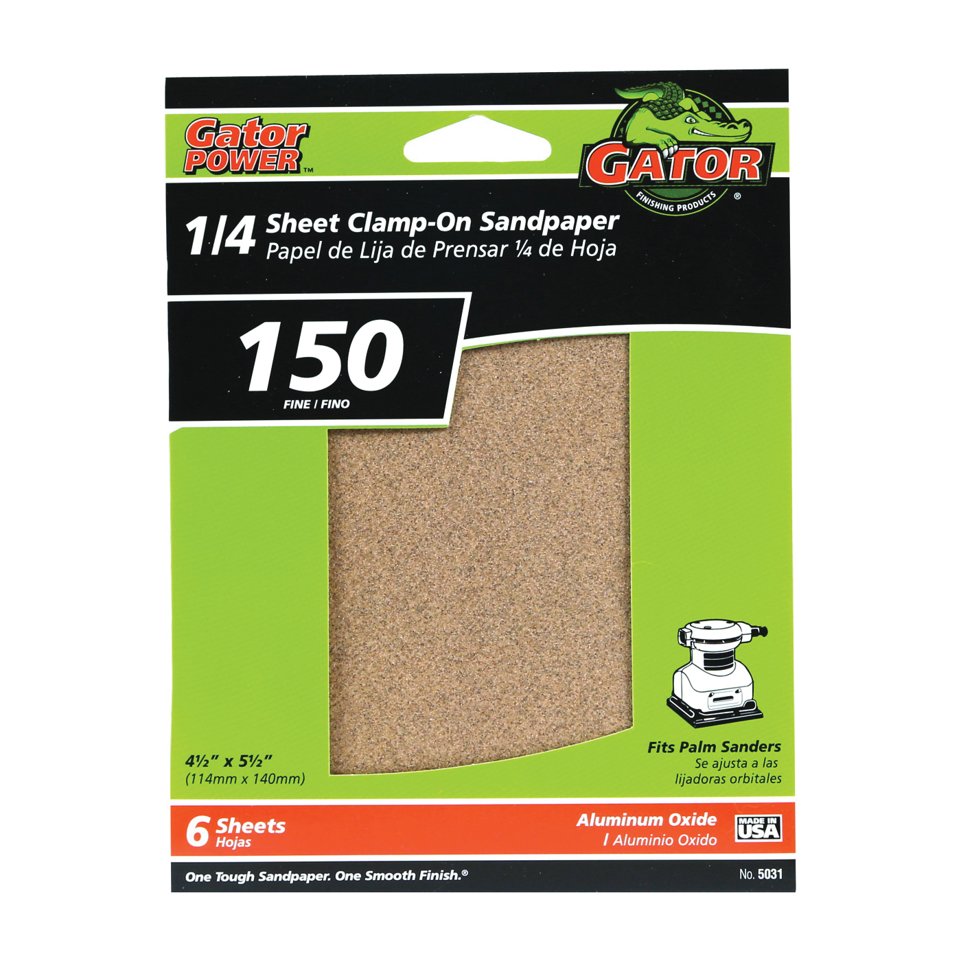 Picture of Gator 5031 Sanding Sheet, 4-1/2 in W, 5-1/2 in L, 150 Grit, Fine, Aluminum Oxide Abrasive, Paper Backing