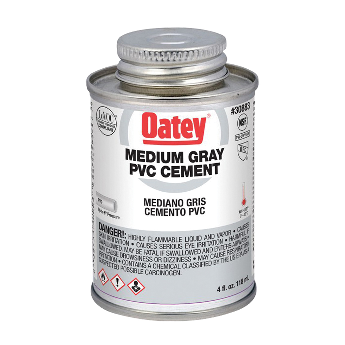 Picture of Oatey 30883 Solvent Cement, 4 oz, Can, Liquid, Gray