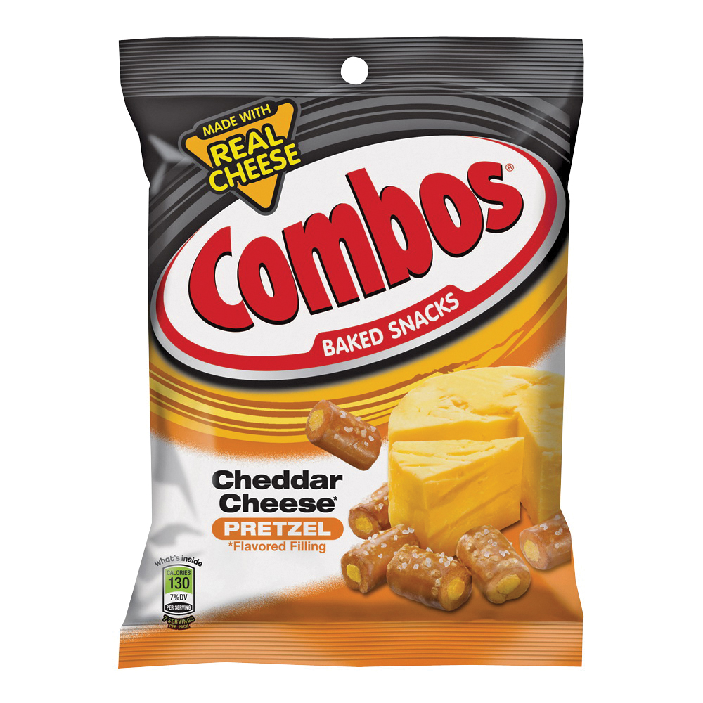 Picture of Combos CCPC12 Baked Snacks, Cheddar, Cheese Flavor, 6.3 oz Package