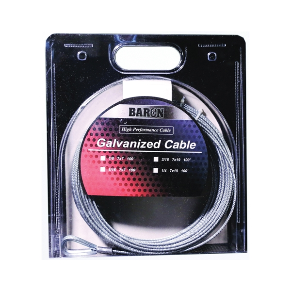 Picture of BARON 96005/50069 Aircraft Cable, 1/8 in Dia, 100 ft L, 1220 lb Working Load, Galvanized Steel