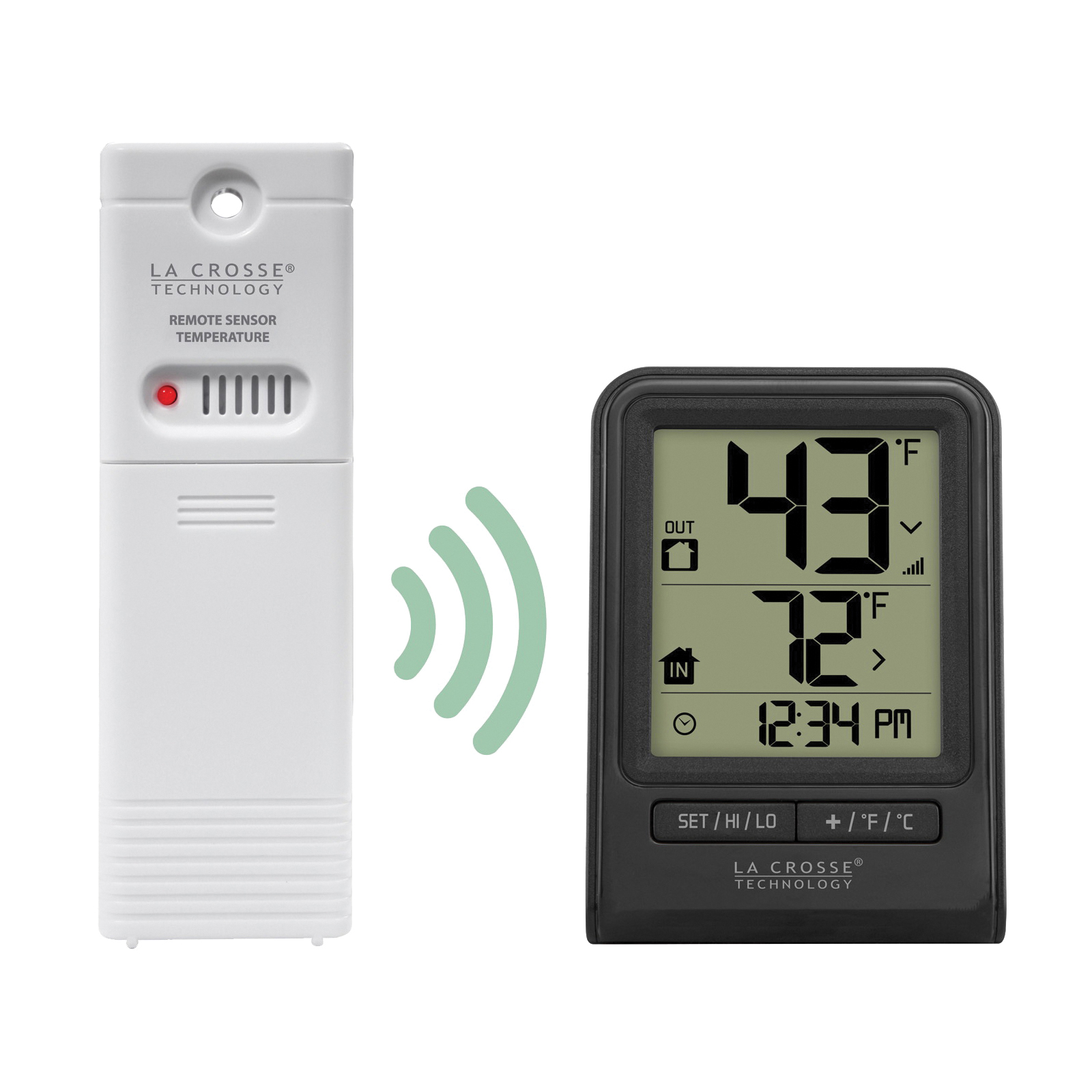 Picture of La Crosse 308-1409BT-CBP Wireless Thermometer, 2.63 in L x 1.35 in W x 3.67 in H Display, 32 to 122 deg F