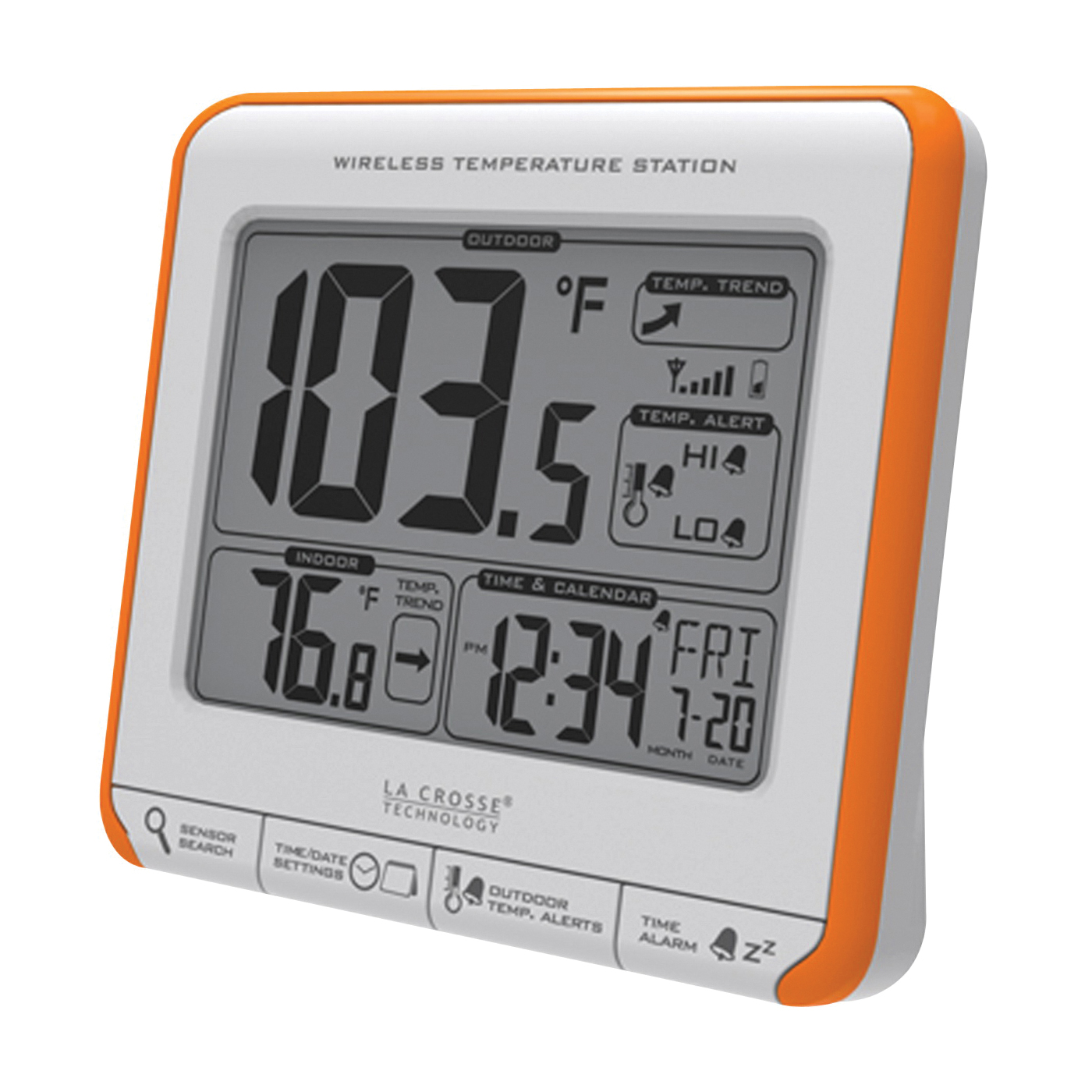 Picture of La Crosse 308-179OR Wireless Thermometer, 4.27 in L x 1.47 in W x 3.88 in H Display, 32 to 122 deg F