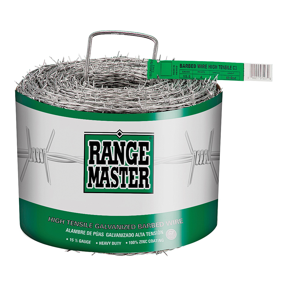 Picture of Rangemaster Class 3 Series 7203 Barbed Wire, 1320 ft L, 15-1/2 Gauge, 5 in Points Spacing, Zinc