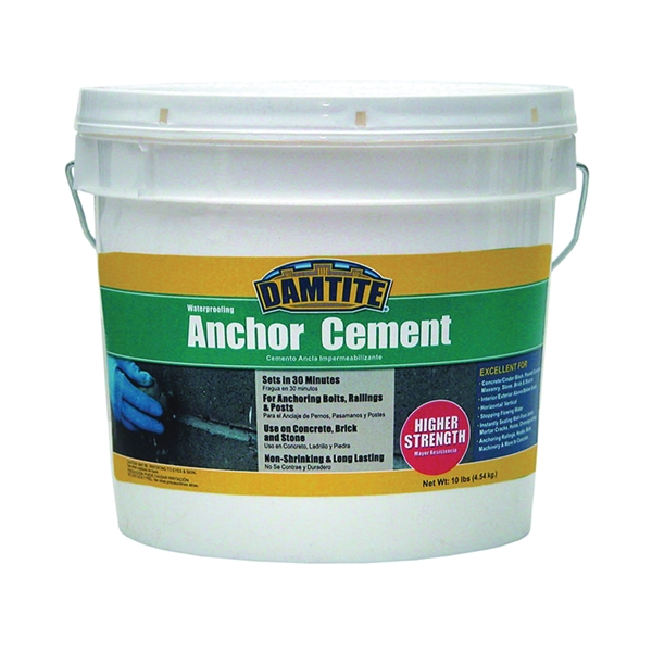 Picture of DAMTITE 08122/08121 Anchoring Cement, Powder, Gray, 48 hr Curing, 10 lb Package, Pail