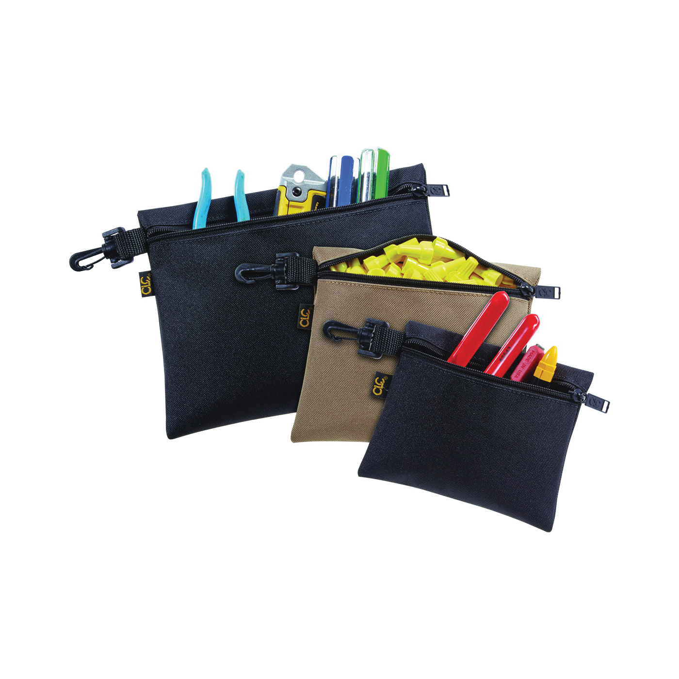 Picture of CLC Tool Works 1100 Zippered Bag, 1 -Pocket, Polyester, Black/Khaki