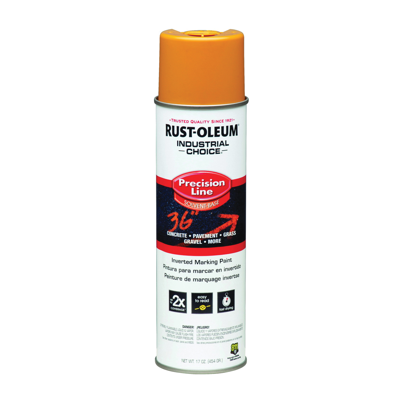 Picture of RUST-OLEUM INDUSTRIAL CHOICE 203024 Marking Paint, Semi-Gloss, Caution Yellow, 17 oz, Aerosol Can