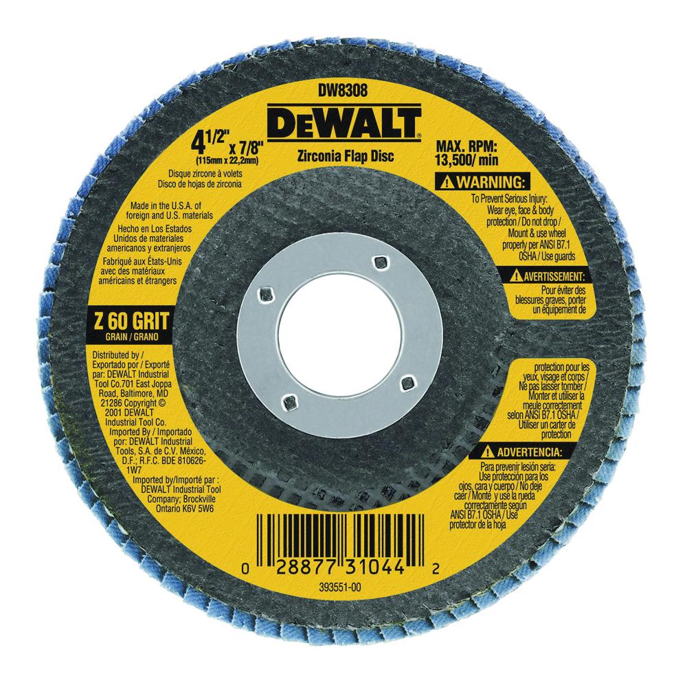 Picture of DeWALT DW8308 Flap Disc, 4-1/2 in Dia, 7/8 in Arbor, Coated, 60 Grit, Zirconia Abrasive, Fiberglass Backing