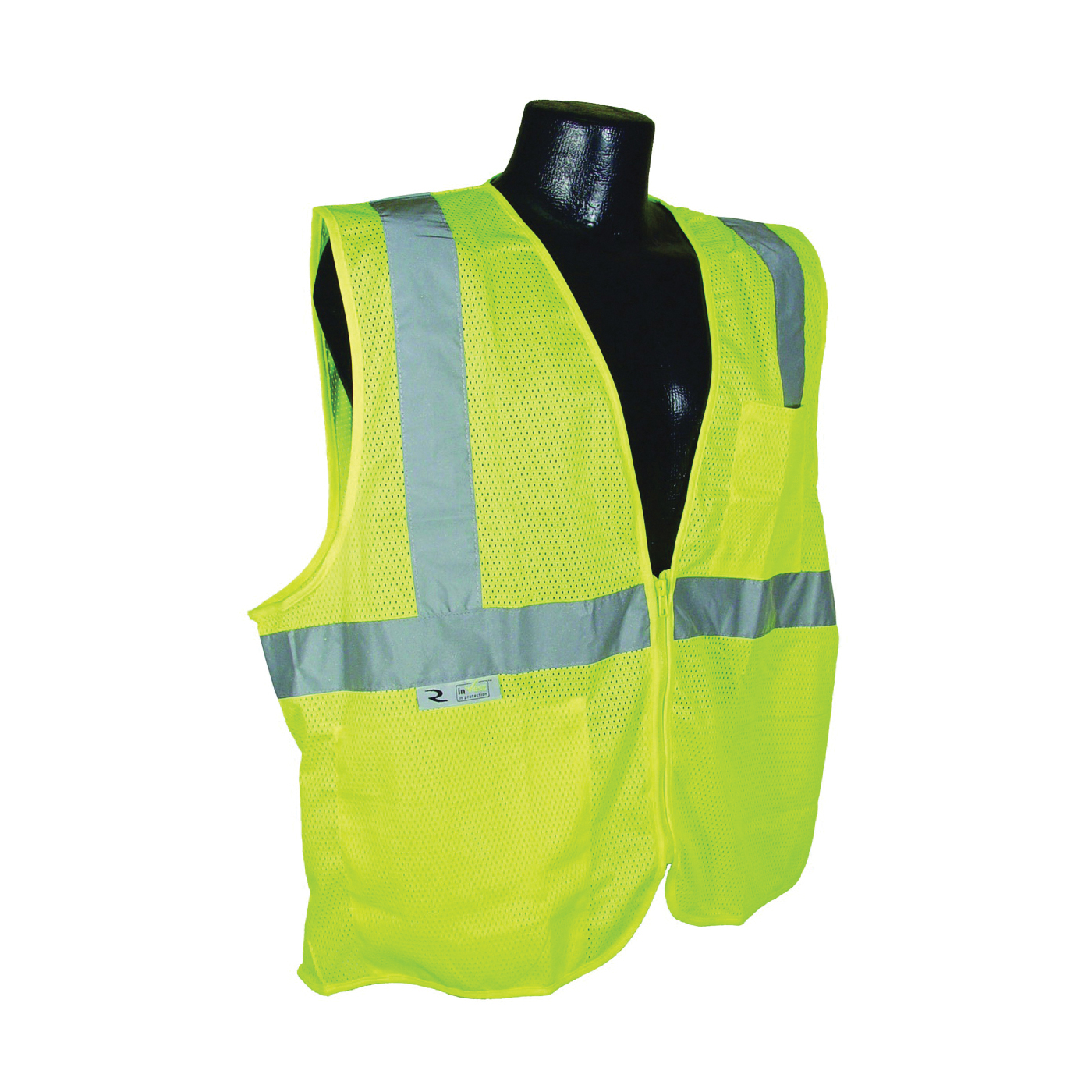 Picture of RADWEAR SV2ZGM-XL Safety Vest, XL, Unisex, Fits to Chest Size: 28 in, Polyester, Green/Silver, Zipper Closure