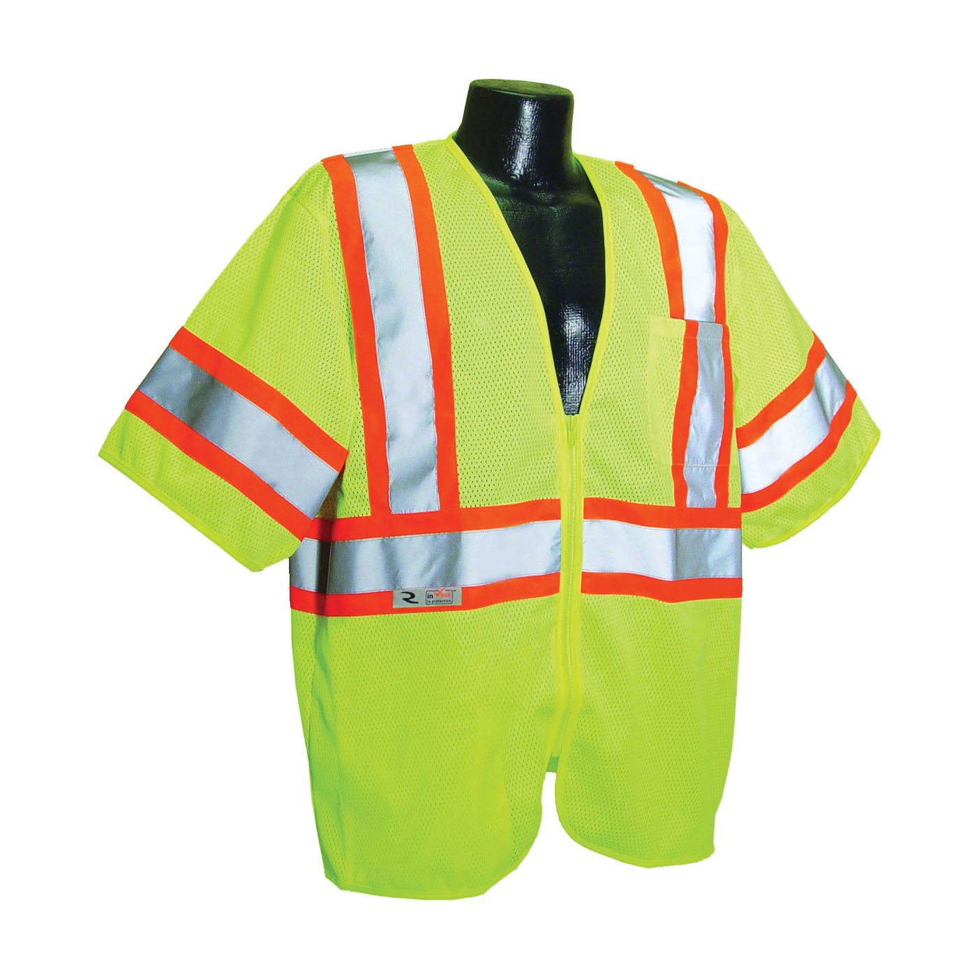 Picture of RADWEAR SV22-3ZGM-XL Safety Vest, XL, Polyester, Green/Silver, Zipper Closure