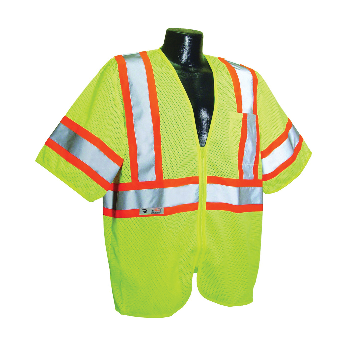 Picture of RADWEAR SV22-3ZGM-2X Safety Vest, 2XL, Polyester, Green/Silver, Zipper Closure
