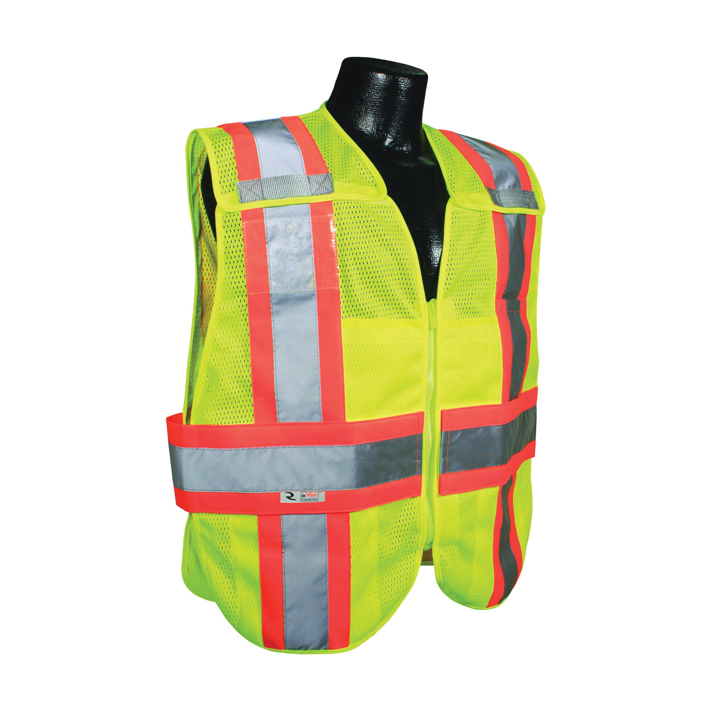 Picture of RADWEAR SV24-2ZGM-3X/5X Safety Vest, 3XL/5XL, Polyester, Green/Silver, Zip-N-Rip Closure