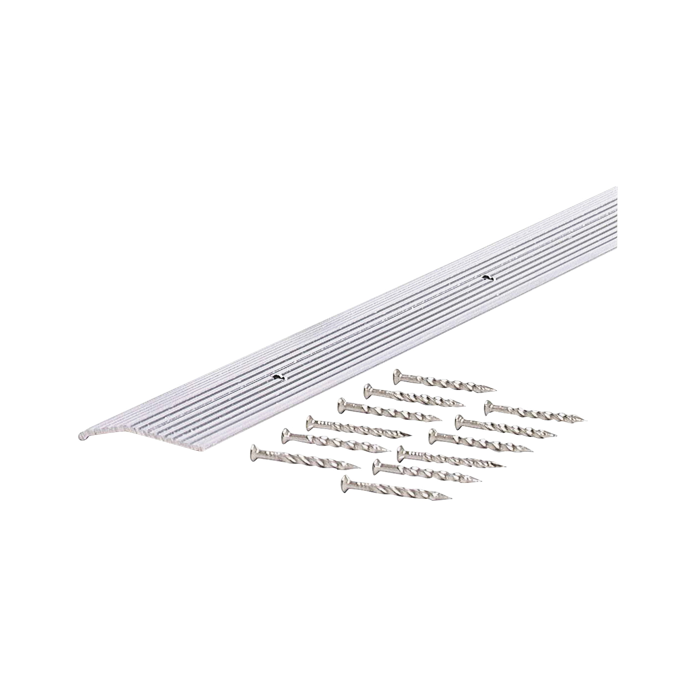 Picture of M-D 78154 Carpet Trim, 72 in L, 1.38 in W, Fluted Surface, Aluminum, Silver