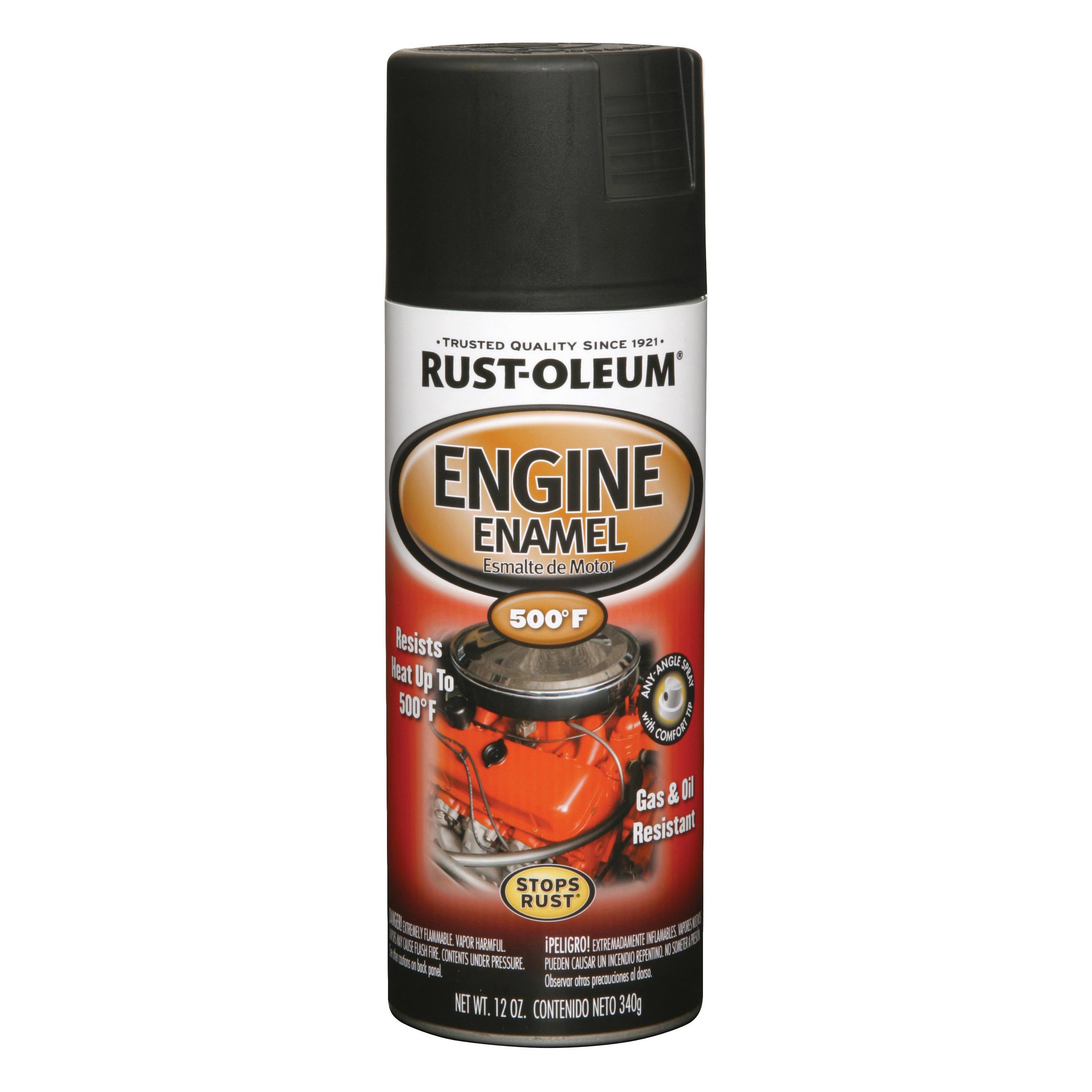 Picture of RUST-OLEUM AUTOMOTIVE 248936 Engine Enamel Spray Paint, Black, 12 oz, Aerosol Can