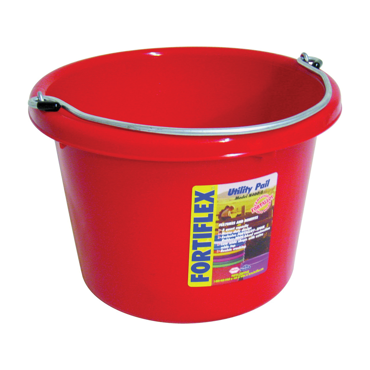Picture of FORTEX-FORTIFLEX N4008R Utility Pail, 8 qt Volume, Fortalloy Rubber Polymer, Red