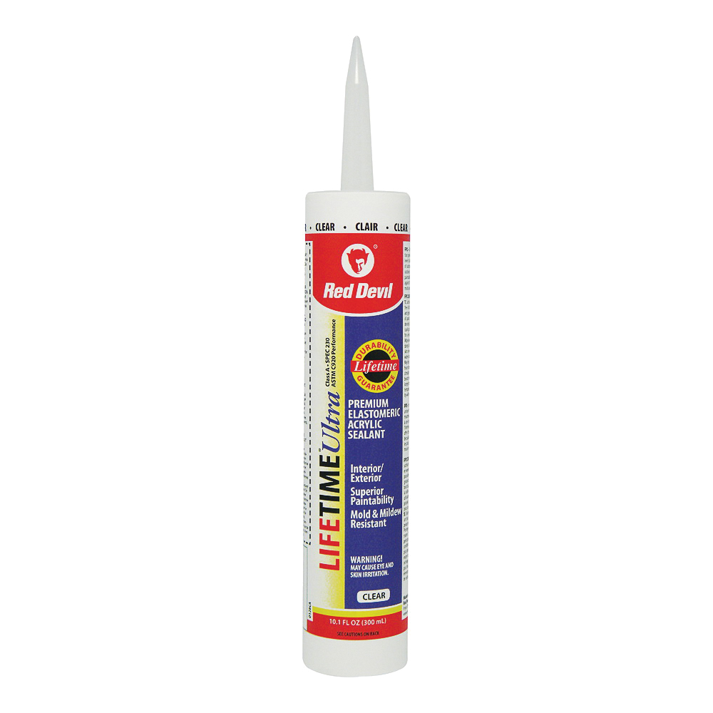 Picture of Red Devil Lifetime 0128CA Acrylic Latex Caulk, Clear, 10.1 oz Package, Cartridge