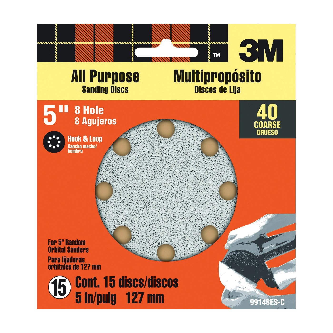 Picture of 3M SandBlaster 99148 Sanding Disc, 5 in Dia, 40 Grit, Aluminum Oxide Abrasive