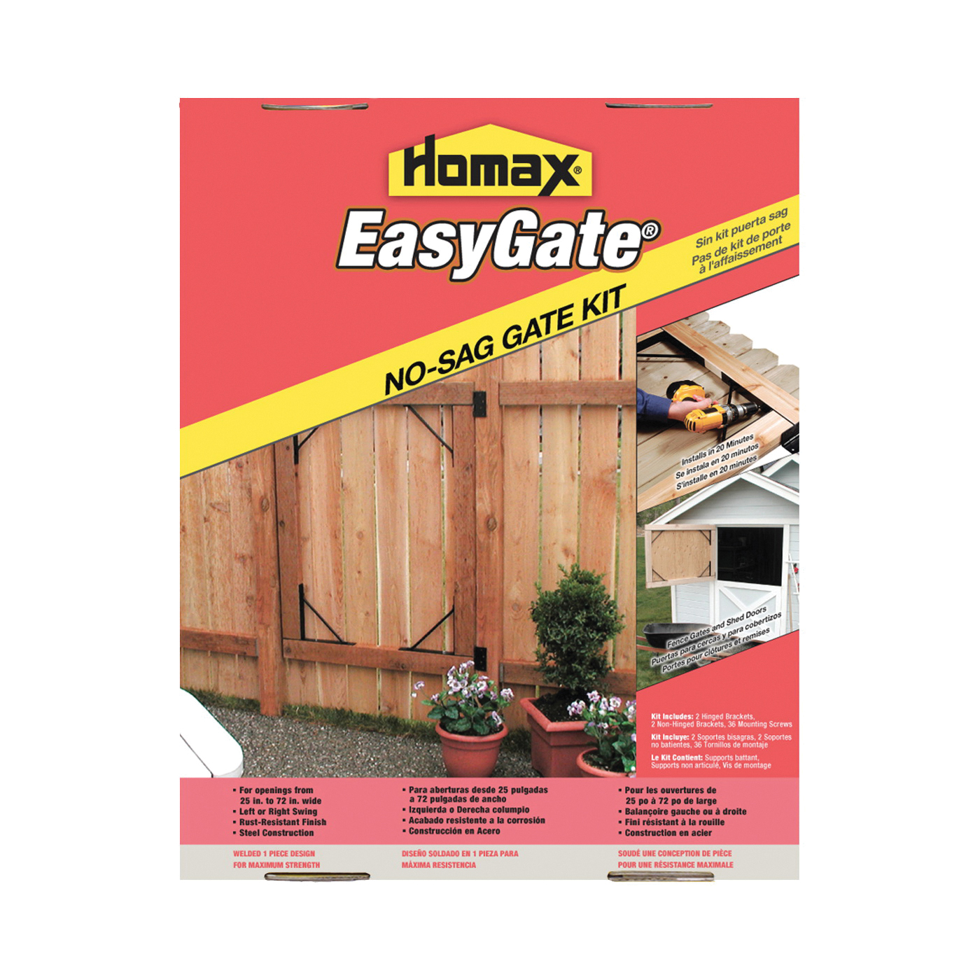 Picture of Homax 80099 Gate Kit, Steel, Black, Powder-Coated, For: Fence, Driveway, Corral, Shed, Deck Gates