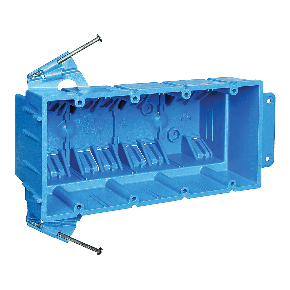 Picture of Carlon BH464A Outlet Box, 4-Gang, PVC, Blue, Nail Mounting