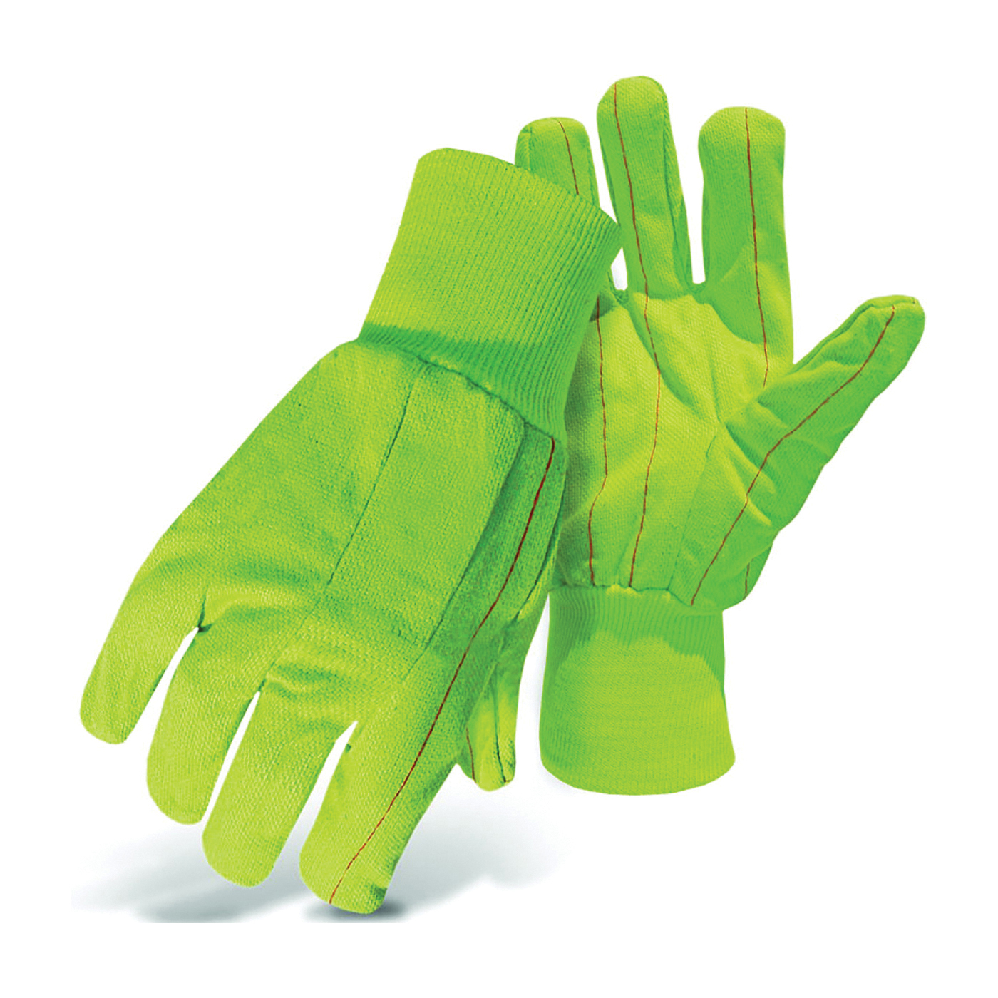 Picture of BOSS 30PCN Protective Gloves, L, Straight Thumb, Knit Wrist Cuff, Cotton/Polyester, Fluorescent Green