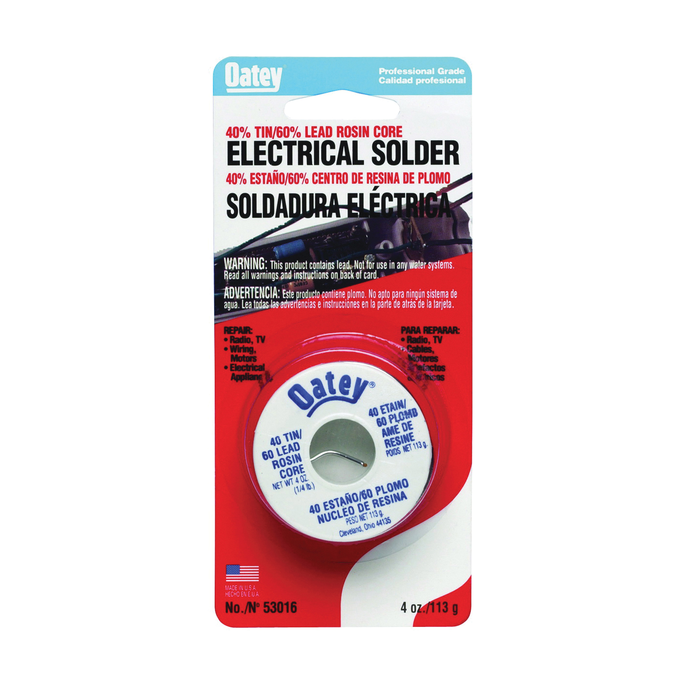 Picture of Oatey 53016 Rosin Core Solder, 1/4 lb Package, Carded, Solid, Silver, 361 to 460 deg F Melting Point