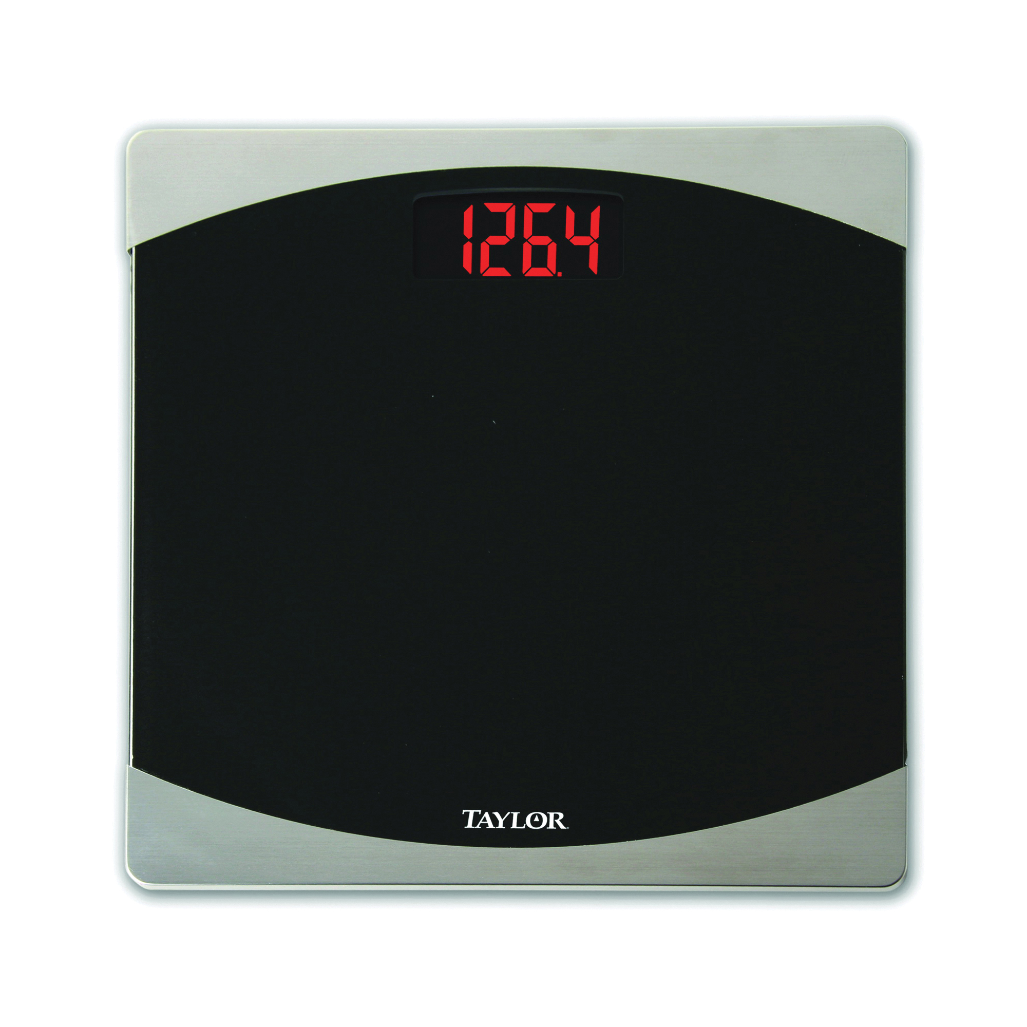 Picture of Taylor 7562 Bathroom Scale, 400 lb Capacity, LCD Display, Glass Housing Material, Black, 12 in OAW, 12 in OAD