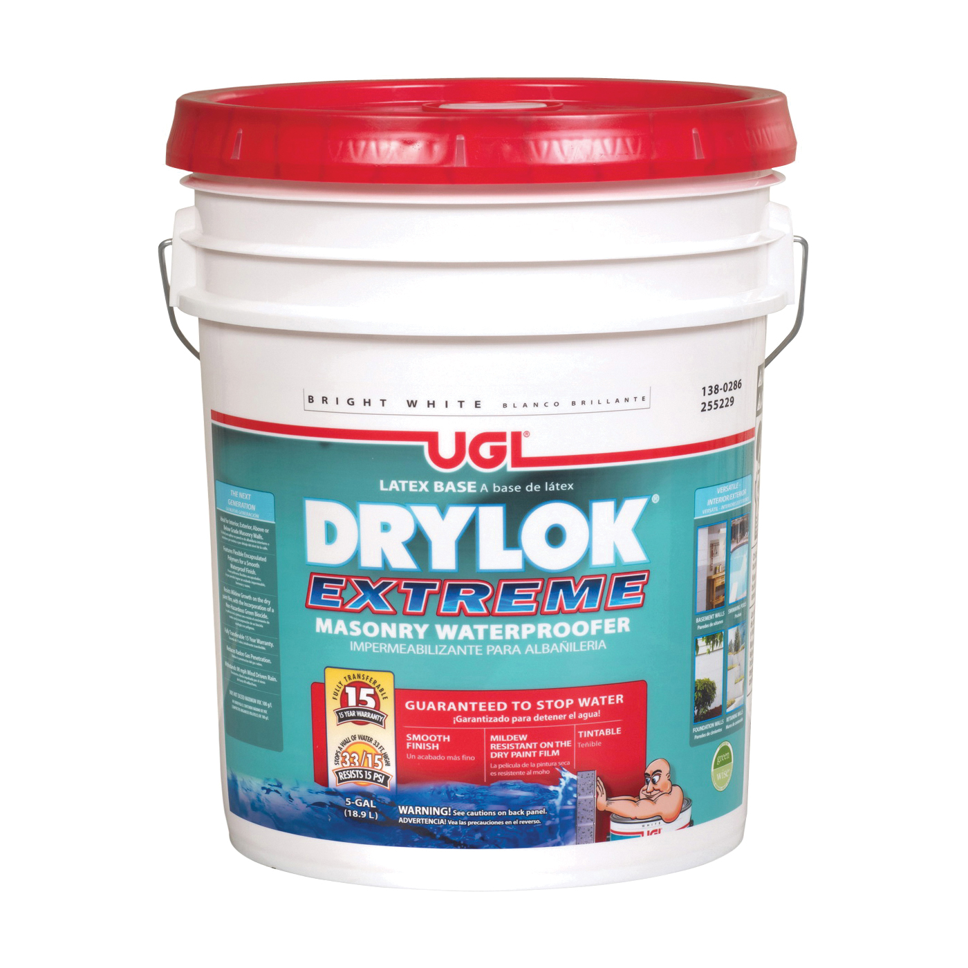 Picture of UGL DRYLOK EXTREME 28615 Masonry Waterproofer, White, Liquid, 5 gal Package, Pail