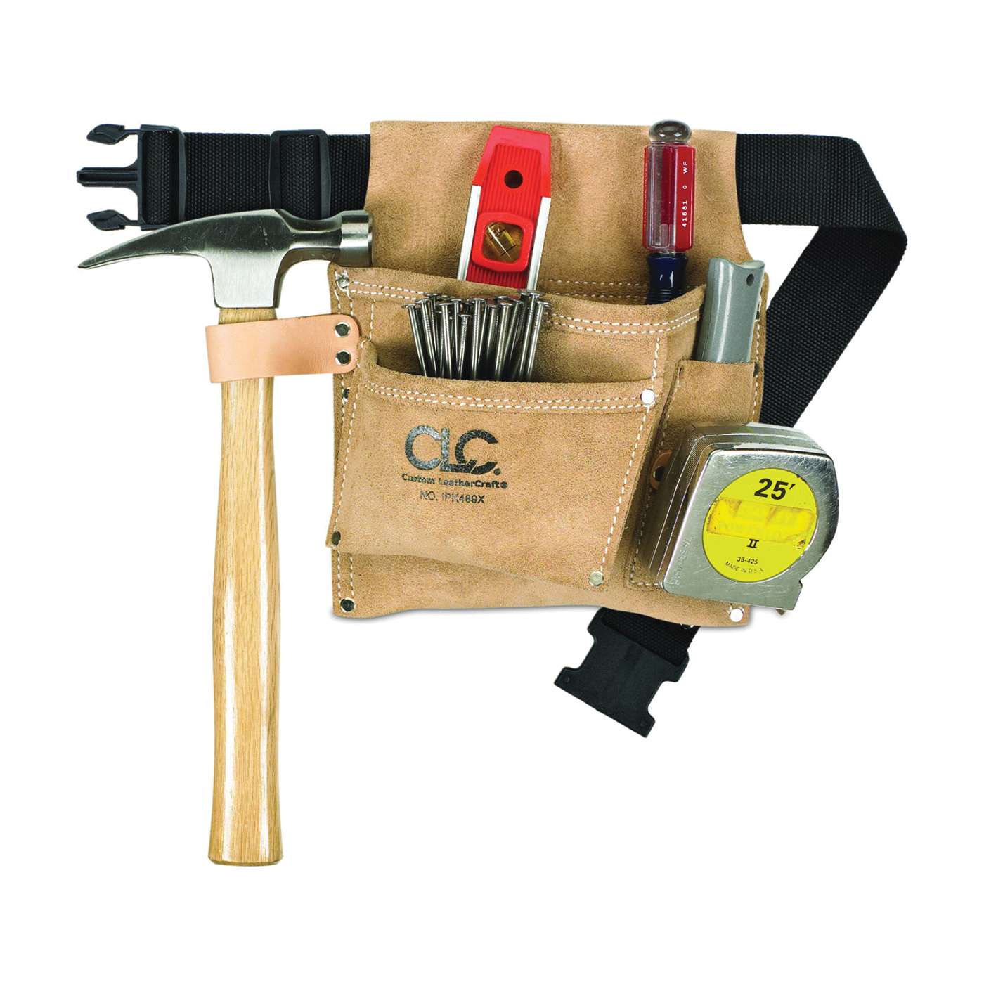 Picture of CLC IPK489X Nail/Tool Bag, 3 -Pocket, Suede Leather, Tan