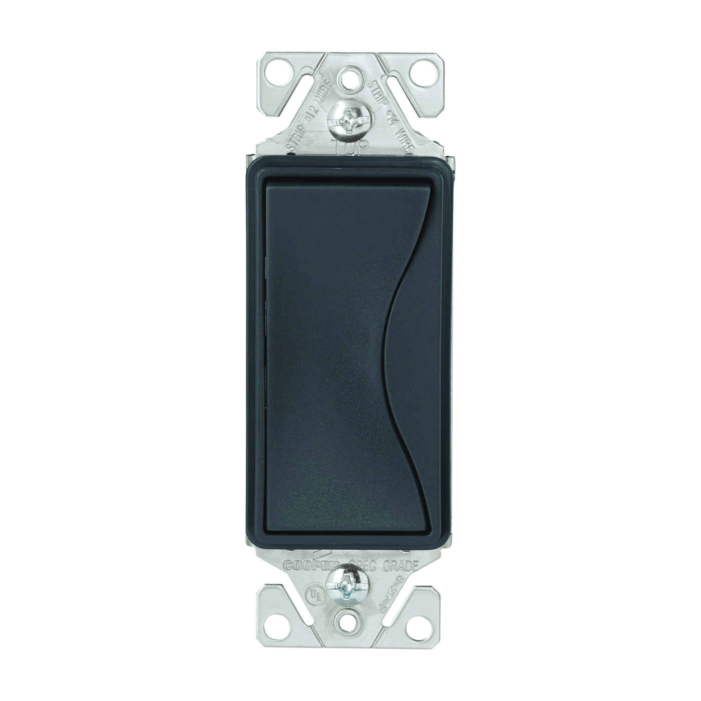 Picture of Eaton Wiring Devices ASPIRE 9501SG Rocker Switch, 15 A, 120/277 V, Single-Pole, Push-In Terminal, Silver Granite