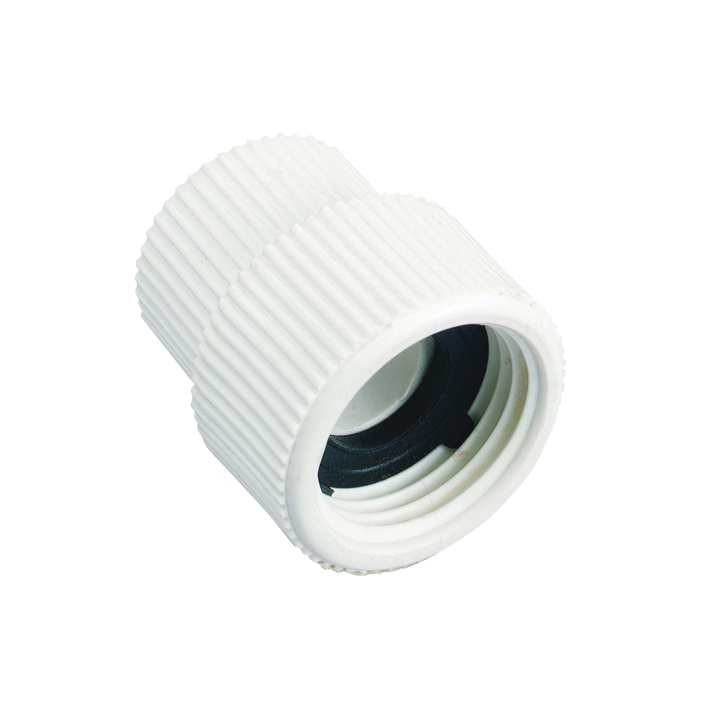Picture of Orbit 53366 Hose to Pipe Adapter, 1/2 x 3/4 in, FNPT x FHT, PVC, White