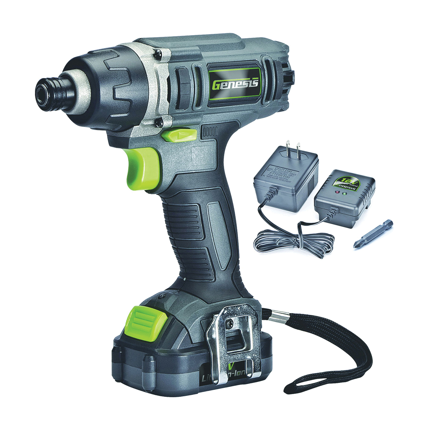 Picture of Genesis GLID12B Impact Driver, Kit, 12 V Battery, 1/4 in Drive, Hex Drive, 3000 ipm IPM, 2300 rpm Speed