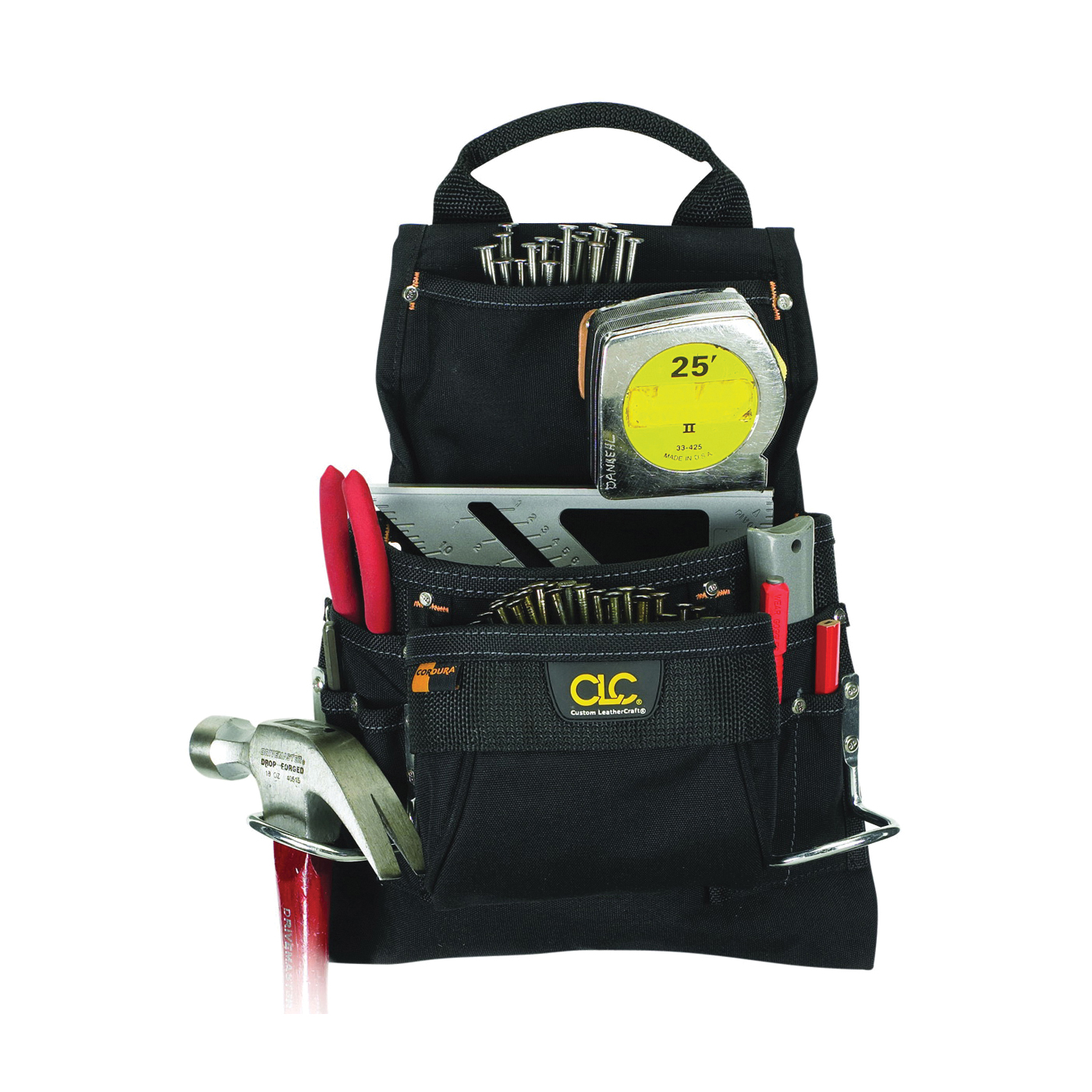 Picture of CLC Tool Works 5833 Nail/Tool Bag, 5 in W, 15.2 in H, 9 -Pocket, Polyester, Black