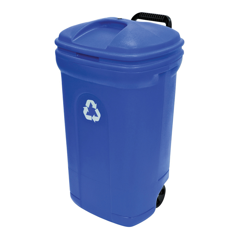 Picture of United Solutions ECOSense TB0056 Recycling Can, 34 gal Capacity, Plastic, Blue, Hook-and-Loop Closure