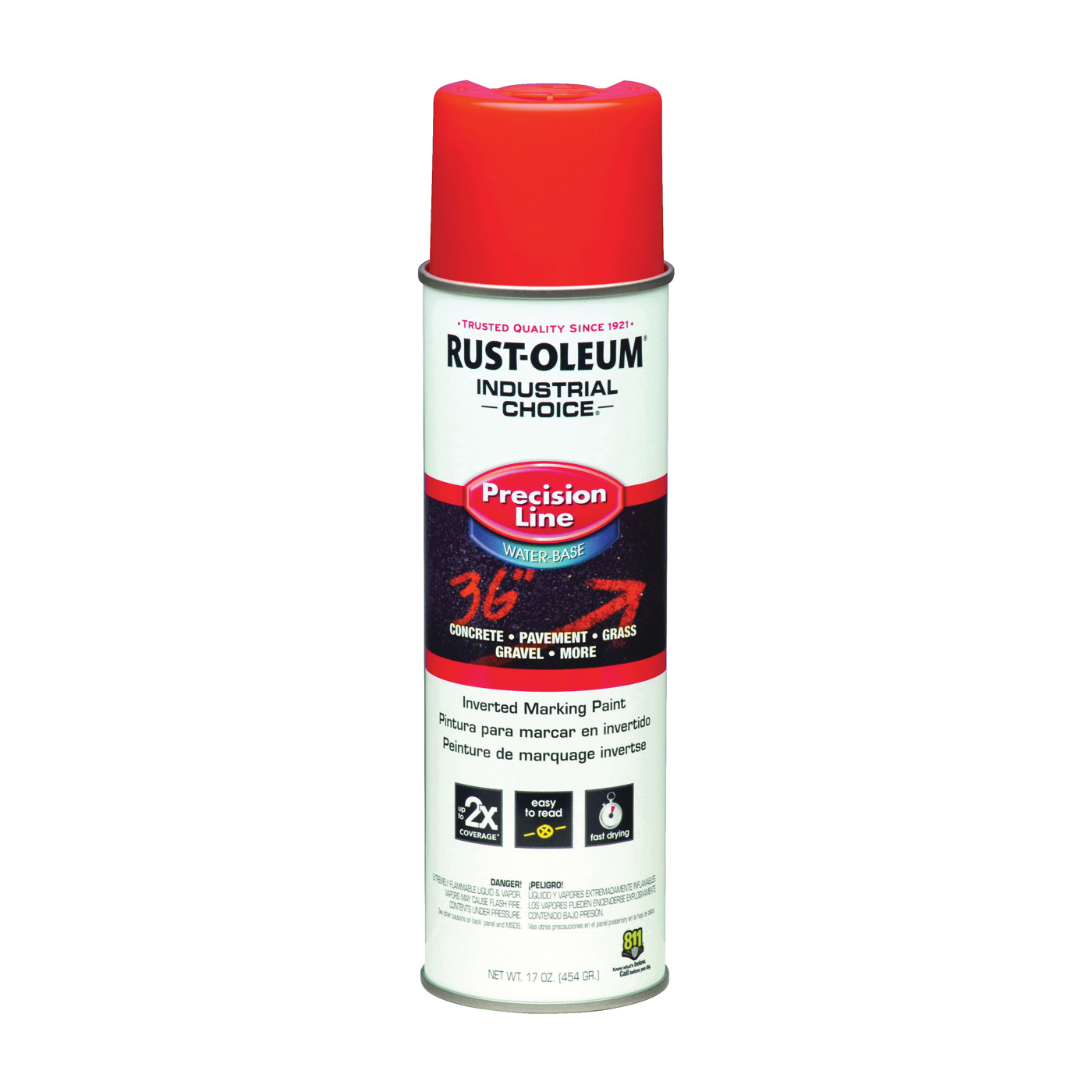 Picture of RUST-OLEUM INDUSTRIAL CHOICE 1862838 Marking Paint, Fluorescent Red, 17 oz, Aerosol Can
