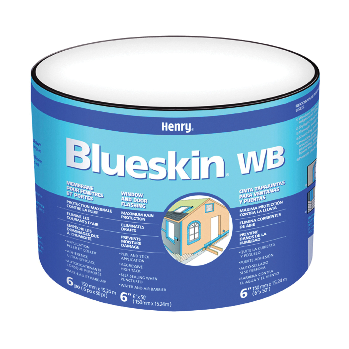 Picture of Henry Blueskin WB BH200WB4590 Window and Door Flashing, 50 ft L, 9 in W, Blue, Self Adhesive