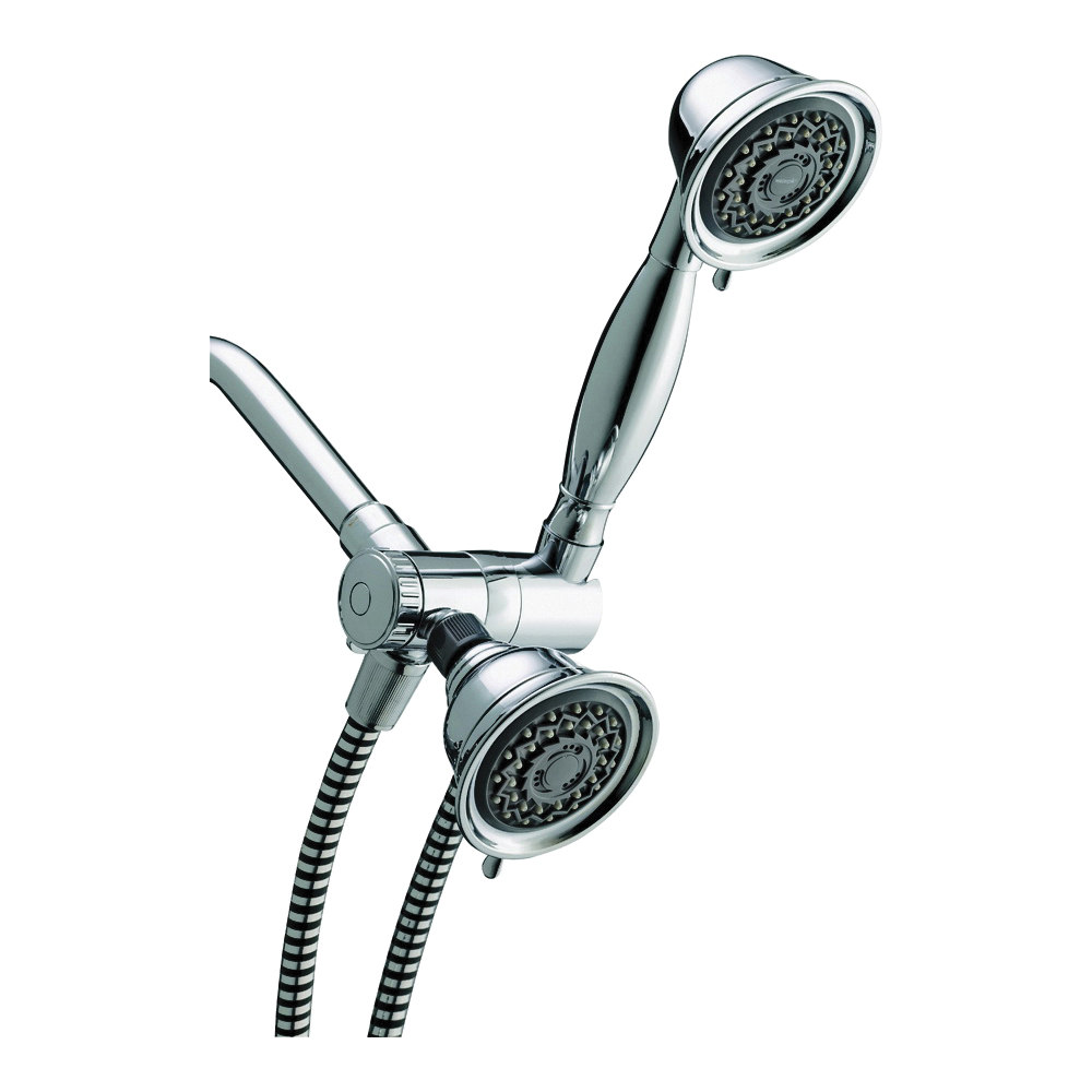 Picture of Waterpik VAT313/343T Dual Shower Head, 2 gpm, 3-Spray Function, Chrome, 60 in L Hose