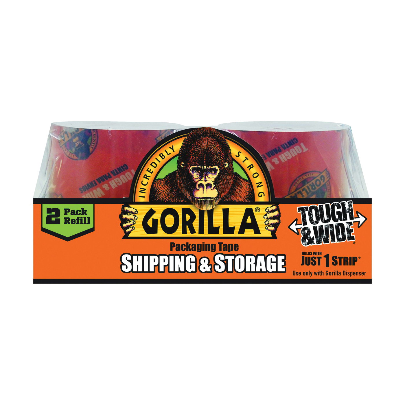 Picture of Gorilla 6030402 Packaging Tape, 60 yd L, 2.83 in W, Crystal Clear