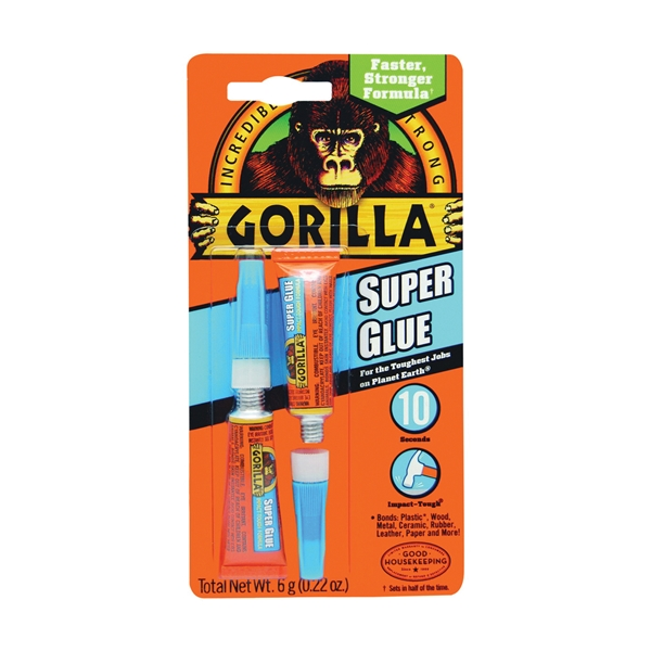 Picture of Gorilla 7800109 Super Glue, Liquid, Irritating, Straw/White Water, 3 g Package, Tube
