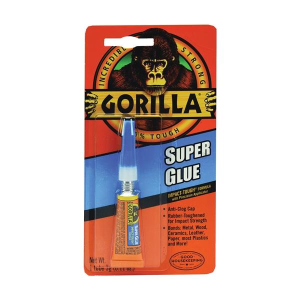 Picture of Gorilla 7900102 Super Glue, Liquid, Irritating, Straw/White Water, 3 g Package, Tube