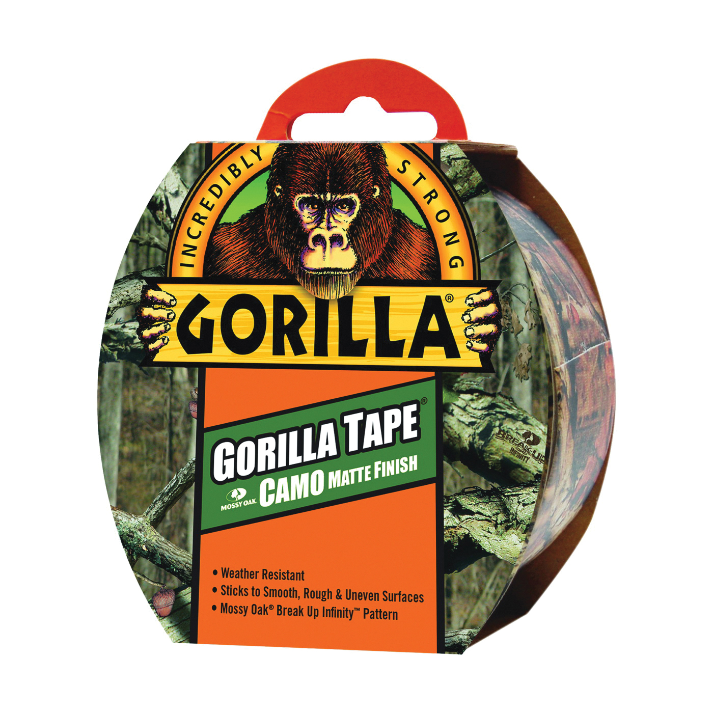 Picture of Gorilla 6010902 Duct Tape, 9 yd L, 1.88 in W, Cloth Backing, Camouflage