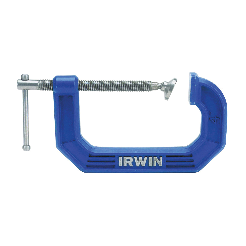 Picture of IRWIN 225106 C-Clamp, 900 lb Clamping, 6 in Max Opening Size, 3-1/2 in D Throat, Steel Body, Blue Body
