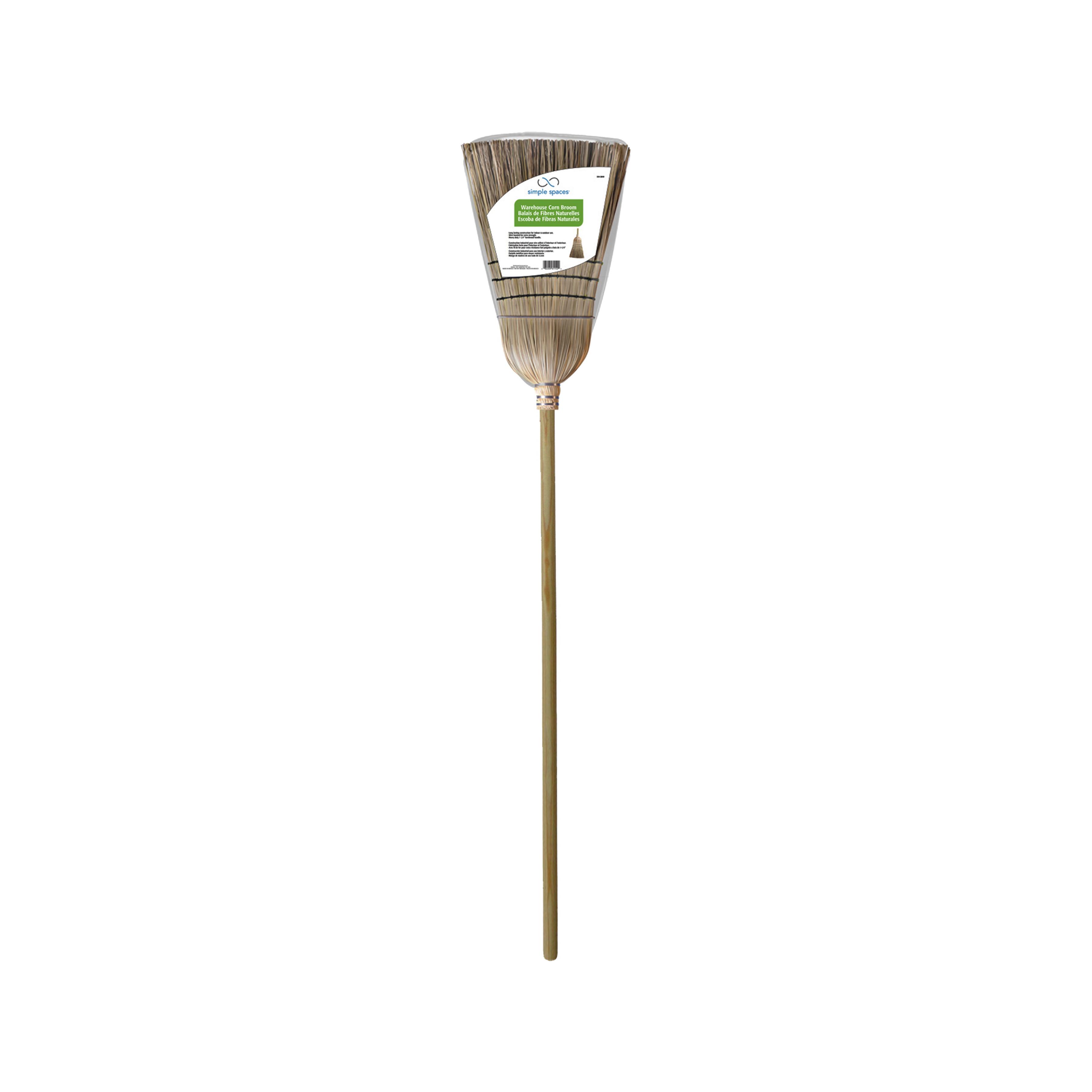 Picture of Simple Spaces 502 Warehouse Broom, Corn Fiber Bristle, Hardwood Handle