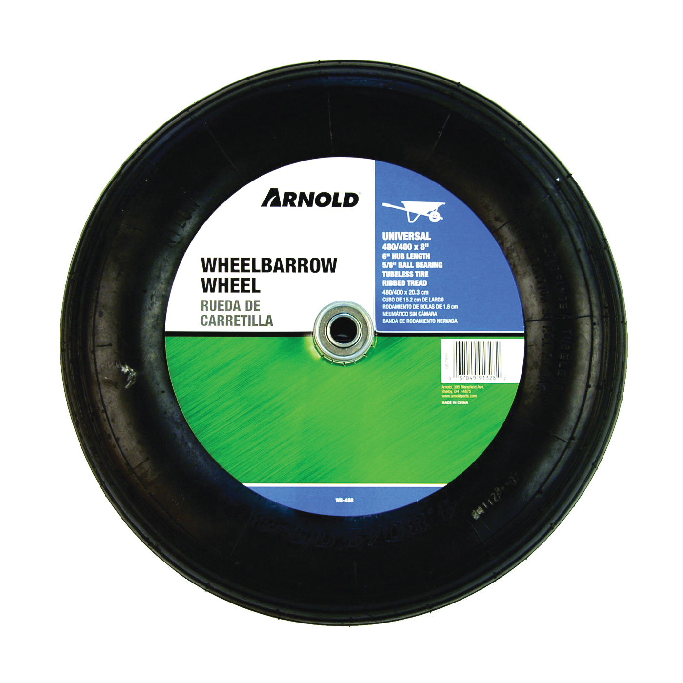 Picture of ARNOLD WB-468 Wheelbarrow Wheel, 4.8/4 x 8 in Tire, 15-1/2 in Dia Tire, Ribbed Tread, 6 in L Hub