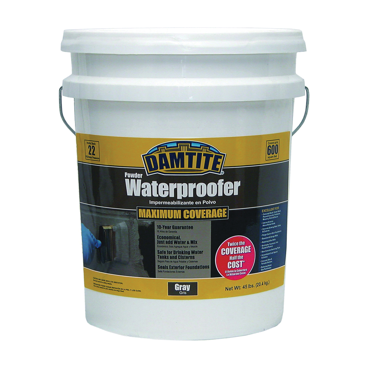 Picture of DAMTITE 02451 Powder Waterproofer, Gray, Powder, 45 lb Package, Pail