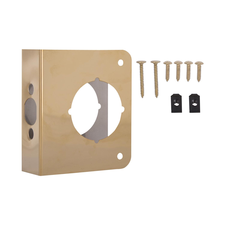 Picture of ProSource HSH-042SBP-PS Door Reinforcer, 2-3/8 in Backset, 1-3/8 in Thick Door, Steel, Brass, 4-1/2 in H, 4 in W