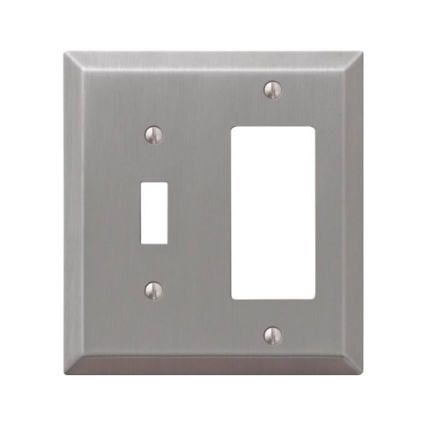 Picture of AmerTac Century 163TRBN Decorative Wallplate, 4-15/16 in L, 4-9/16 in W, 2-Gang, Steel, Brushed Nickel