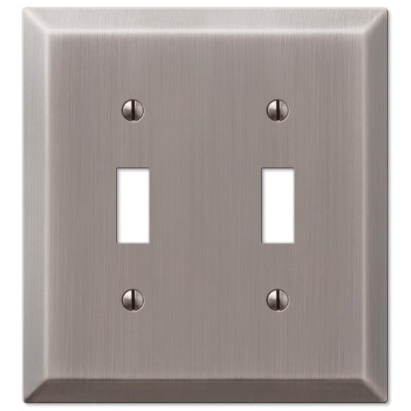 Picture of Amerelle Century 163TTAN Wallplate, 4-15/16 in L, 4-9/16 in W, 2-Gang, Steel, Antique Nickel