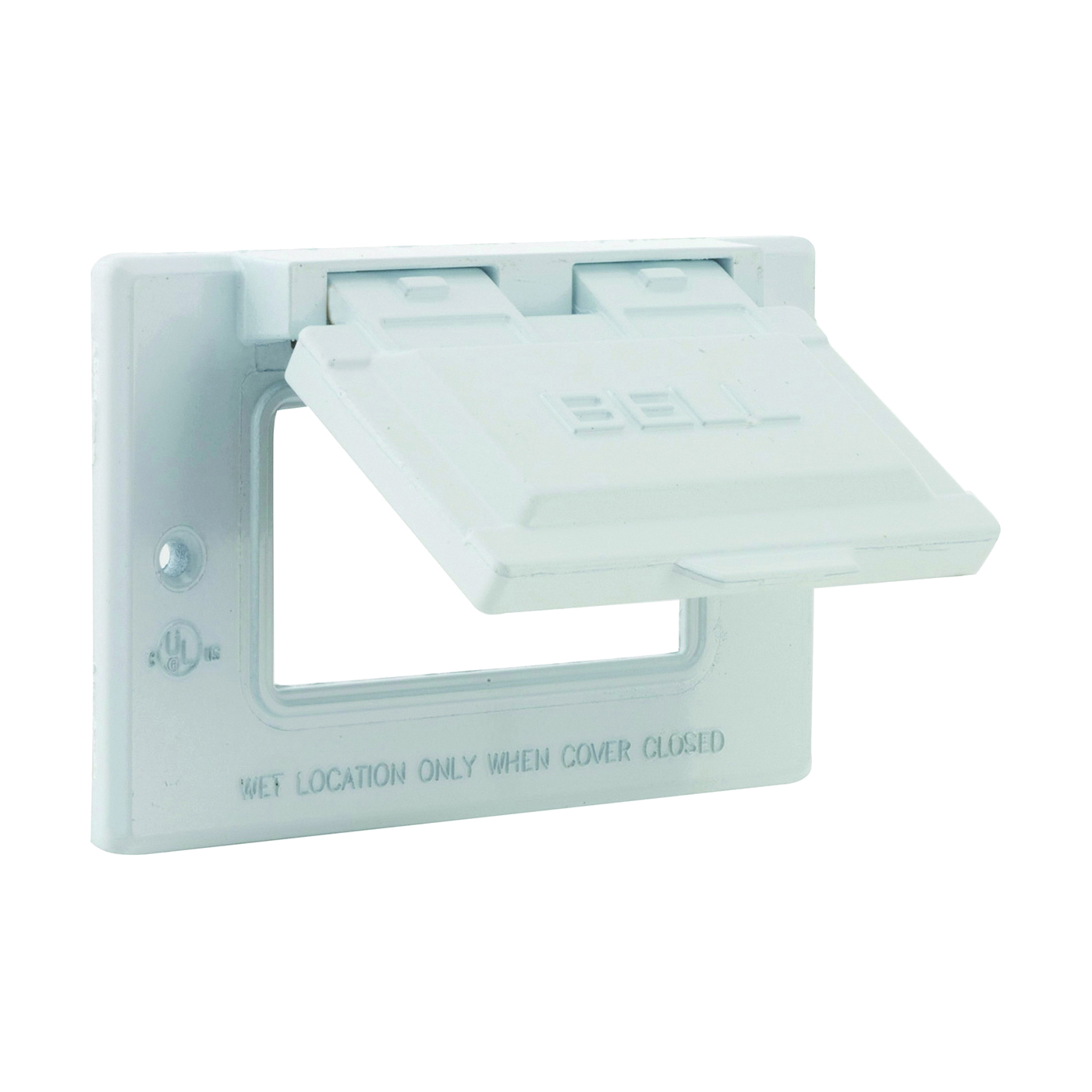 Picture of HUBBELL 5101-1 Cover, 2-13/16 in L, 4-9/16 in W, Metal, White, Powder-Coated