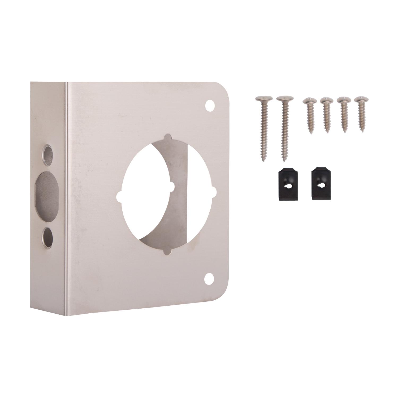 Picture of ProSource HSH-042SBN-PS Door Reinforcer, 2-3/8 in Backset, 1-3/8 in Thick Door, Steel, Satin Nickel, 4-1/2 in H